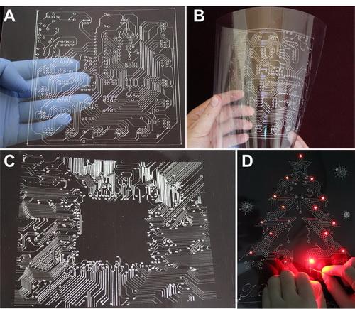 由液态金属打印机打印并制作的柔性电路板及带光电功能的圣诞电子贺卡