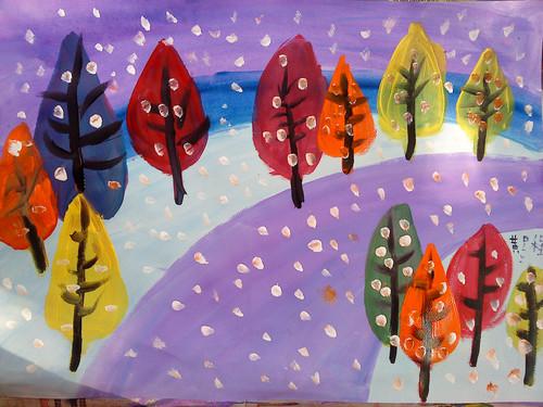 水粉画春天和冬天的树 - 小童星画室 - 小童星-李老师的博客; 2012年
