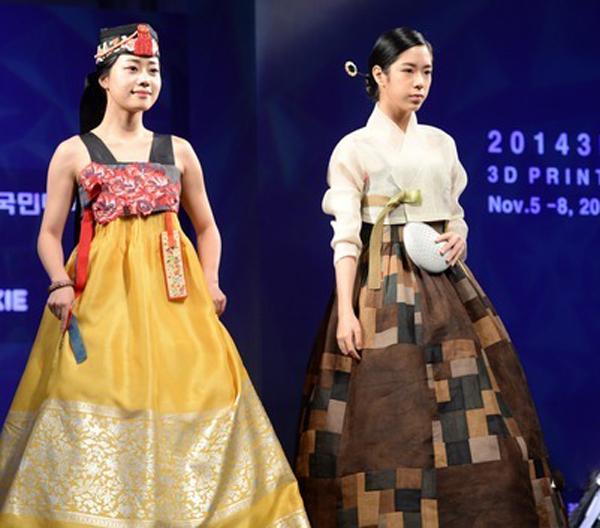 """""""融合3D印刷 韩服时装秀""""在首尔举行(组图)"""